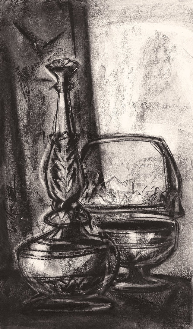 Still Life|S. Mark Rathinaraj- Charcoal on Board, , 19 x 11 inches