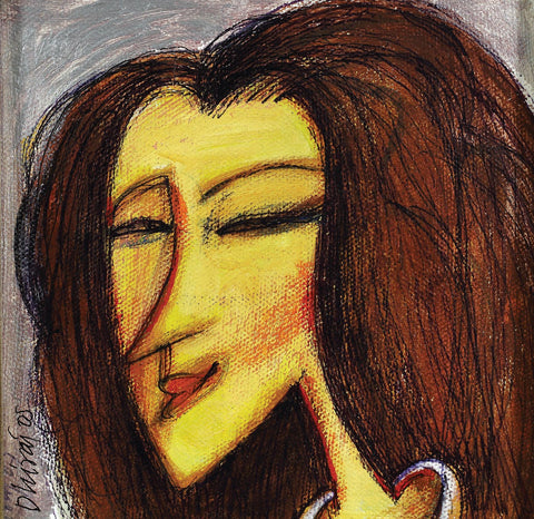 My Mona Lisa|Dhiraj Choudhury- Acrylic on canvas, 2005, 5 x 5 inches