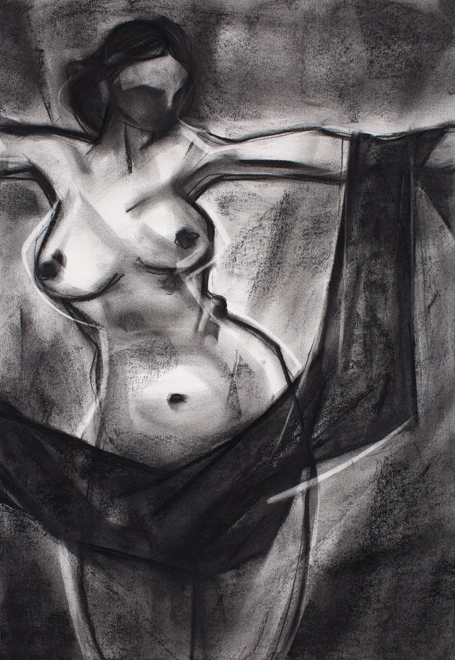 Nude 65|S. Mark Rathinaraj- Charcoal on Board, , 24 x 17 inches
