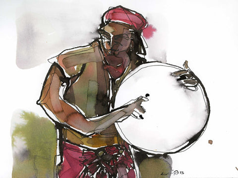 Performer 163|S. Mark Rathinaraj- Pen and Ink on Paper, , 8.5 x 5.5 inches