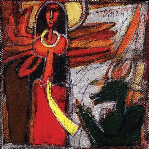 God Durga|Dhiraj Choudhury- Acrylic on canvas, 2008, 6 x 6 inches