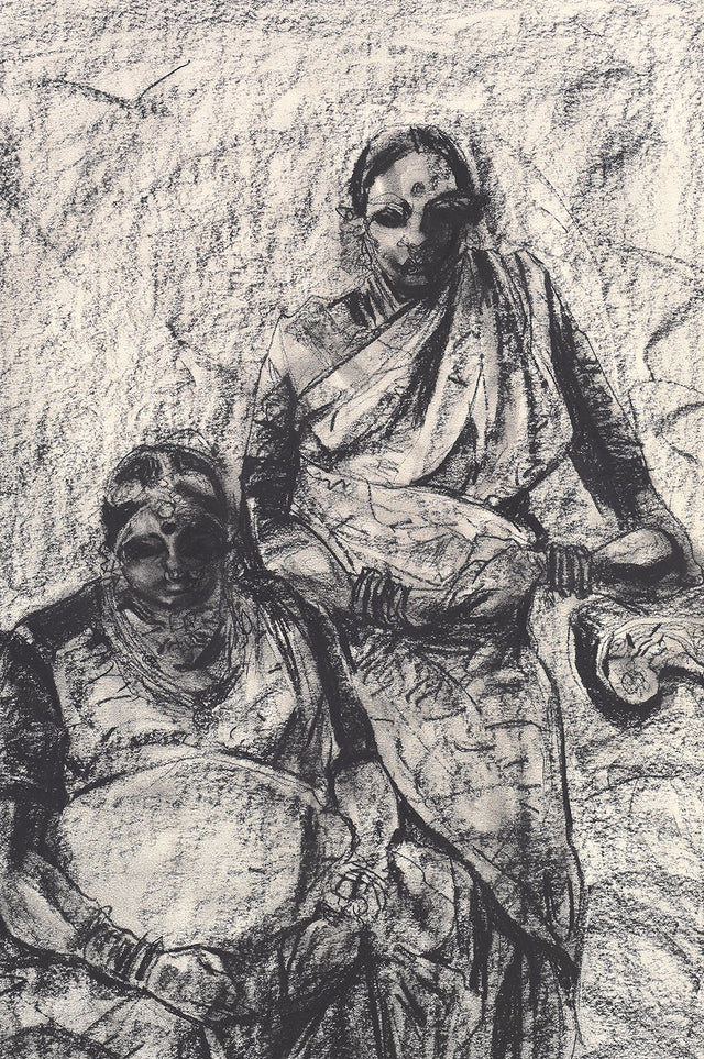 Studio VIII|S. Mark Rathinaraj- Charcoal on Board, ,  27 x 18 inches