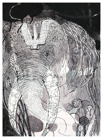 Beside of my Dream 40|A. Vasudevan- Pen and ink on board, 2013,  14.5 x 10.5 inches