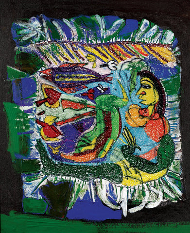 Lady with fish|Dhiraj Choudhury- Needle & Brush, 2016, 24 x 20 inches