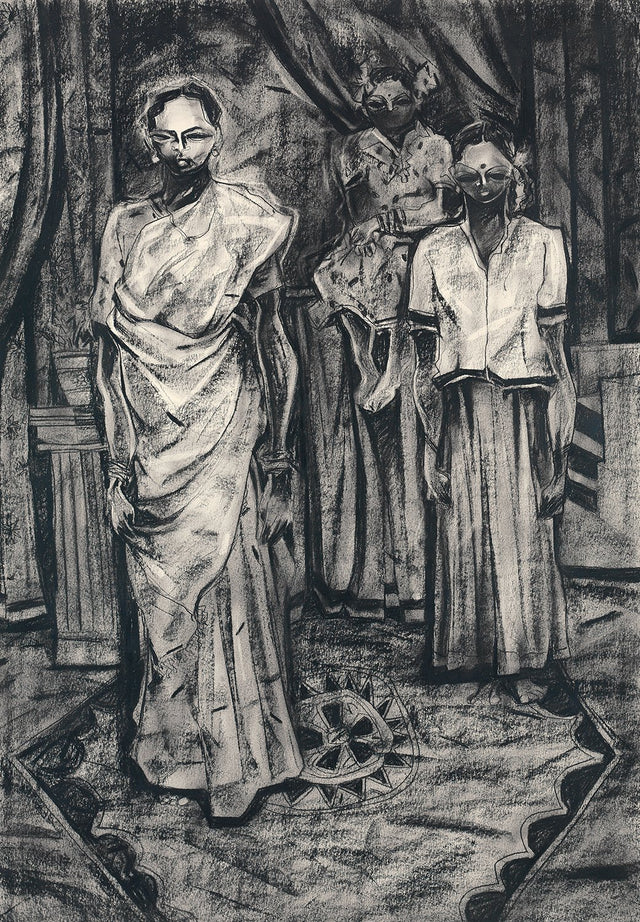 Studio II|S. Mark Rathinaraj- Charcoal on Board, , 38 x 27 inches