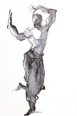 Performer 165|S. Mark Rathinaraj- Pen and Ink on Paper, , 8.5 x 5.5 inches