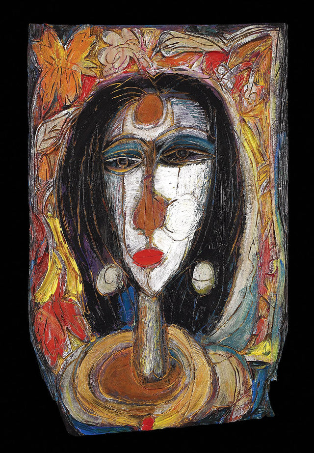 Mona Lisa|Dhiraj Choudhury- Burnt & painted wood, 2008, 18 x 12 inches
