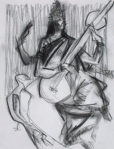 Saraswati|S. Mark Rathinaraj- Charcoal on Board, , 12 x 9 inches