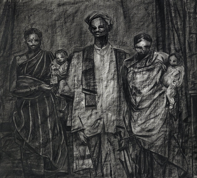 Studio IV|S. Mark Rathinaraj- Charcoal on Board, , 30 x 27.5 inches