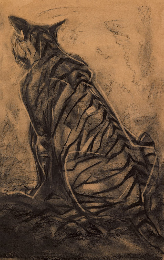 Tiger I|S. Mark Rathinaraj- Charcoal on Board, , 36 x 22.5 inches