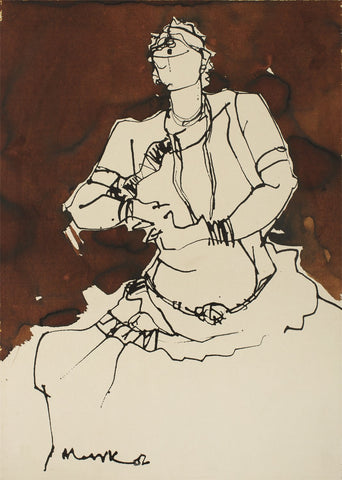 Performer 329|S. Mark Rathinaraj- Pen and Ink on Paper, , 21 x 15 inches
