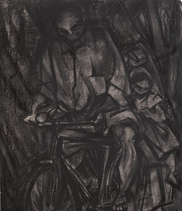 Travelling II|S. Mark Rathinaraj- Charcoal on Board, , 18 x 15.5 inches