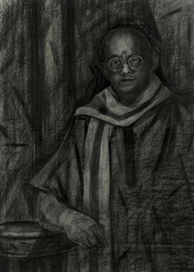 Untitled 125|S. Mark Rathinaraj- Charcoal on Board, , 31.5 x 22.5 inches