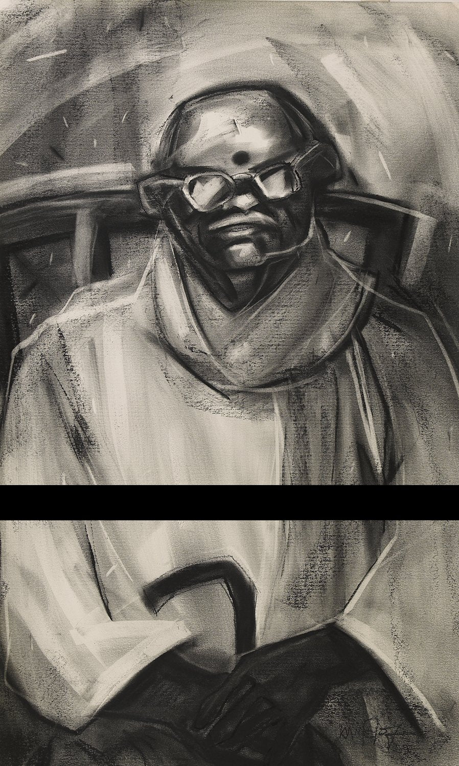 Untitled 126|S. Mark Rathinaraj- Charcoal on Board, , 28.5 x 16.5 inches
