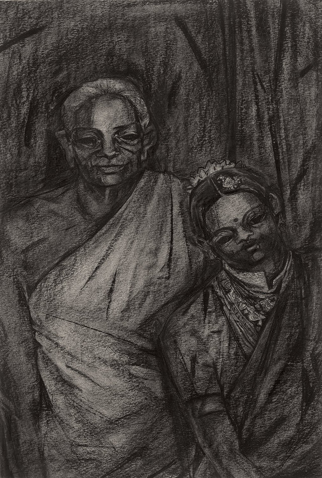 Untitled 127|S. Mark Rathinaraj- Charcoal on Board, , 26 x 17 inches