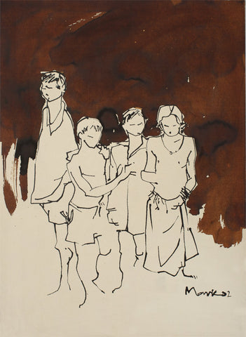 Children|S. Mark Rathinaraj- Pen and Ink on Paper, , 21 x 15 inches