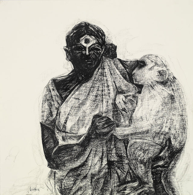 Untitled 128|S. Mark Rathinaraj- Charcoal on Board, , 28 x 27.5  inches