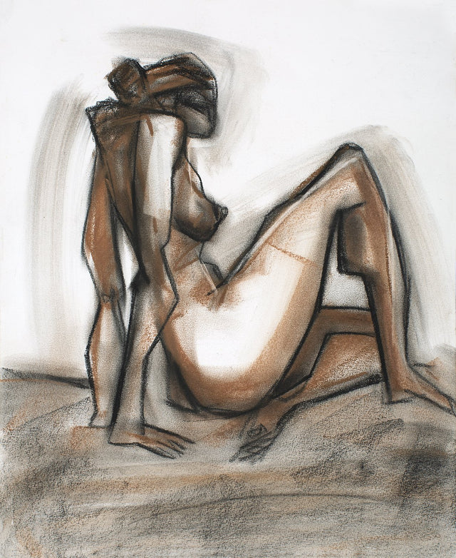 Nude 36|S. Mark Rathinaraj- Charcoal on Board, , 17 x 13.5 inches