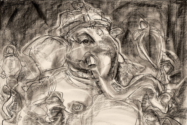 Vinnayagar II|S. Mark Rathinaraj- Charcoal on Board, , 18.5 x 28 inches