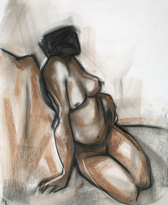 Nude 37|S. Mark Rathinaraj- Charcoal on Board, , 17 x 13.5 inches