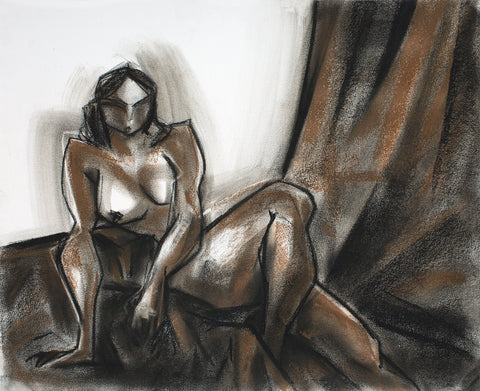 Nude 38|S. Mark Rathinaraj- Charcoal on Board, , 13.5 x 17 inches