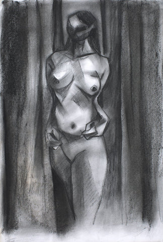 Nude 39|S. Mark Rathinaraj- Charcoal on Board, , 14.5 x 10 inches