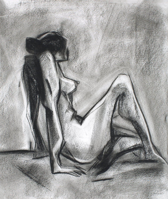 Nude 40|S. Mark Rathinaraj- Charcoal on Board, , 15 x 12.5 inches