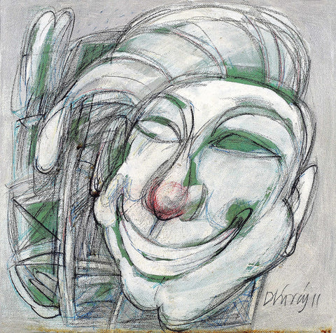 Clown|Dhiraj Choudhury- Acrylic on canvas, 2011, 12 x 12 inches