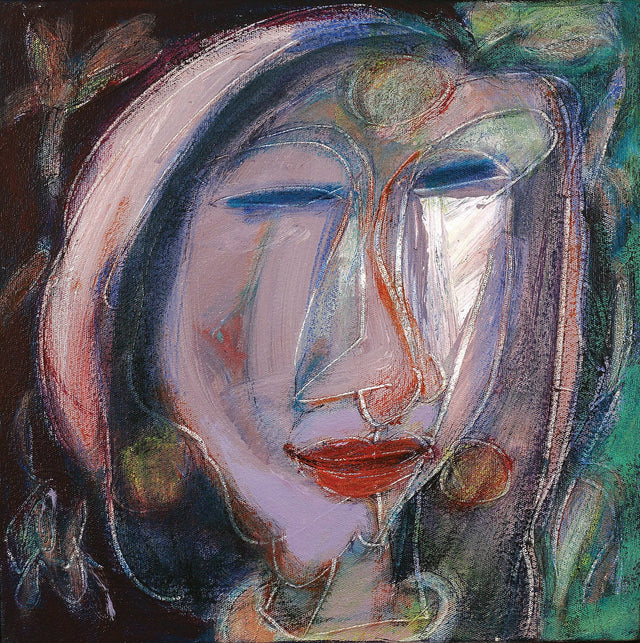 A face|Dhiraj Choudhury- Acrylic on canvas, 2016, 12 x 12 inches