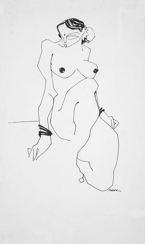 Nude 44|S. Mark Rathinaraj- Pen and Ink on Paper, , 14 x 8.5 inches