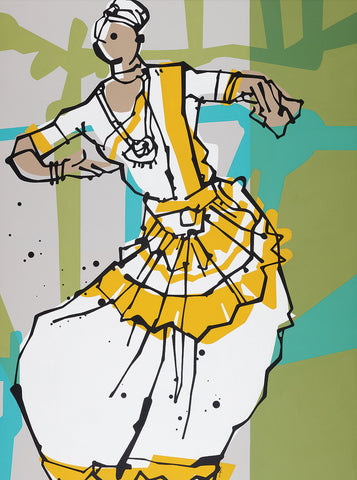 Performer 212|S. Mark Rathinaraj- Acrylic on Canvas, , 48 x 36 inches