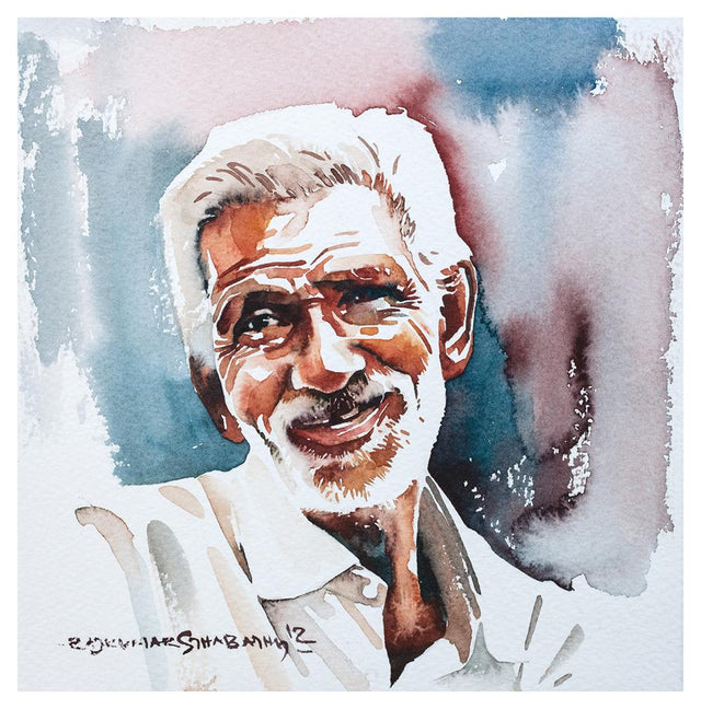 Portrait Series 50|R. Rajkumar Sthabathy- Water Color on Paper, 2012, 7 x 7 inches