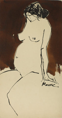 Nude 66|S. Mark Rathinaraj- Pen and Ink on Paper, , 21 x 11 inches