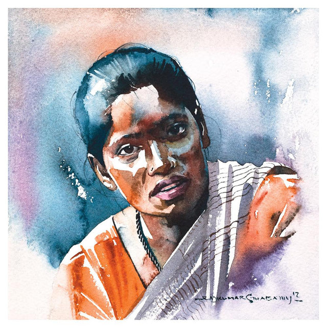 Portrait Series 52|R. Rajkumar Sthabathy- Water Color on Paper, 2012, 7 x 7 inches