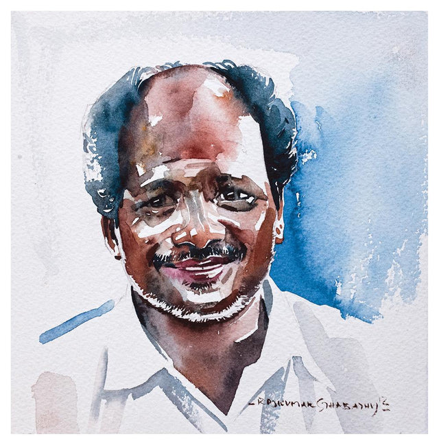 Portrait Series 53|R. Rajkumar Sthabathy- Water Color on Paper, 2012, 7 x 7 inches