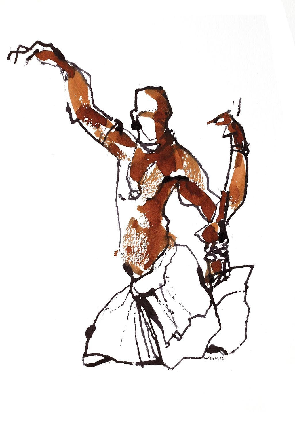 Performer 219|S. Mark Rathinaraj- Pen and Ink on Paper, , 8.5 x 5.5 inches