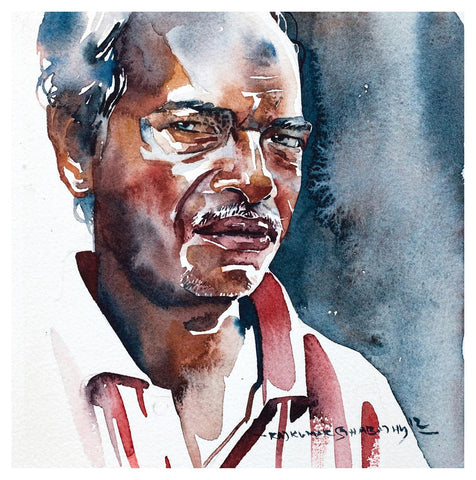 Portrait Series 54|R. Rajkumar Sthabathy- Water Color on Paper, 2012, 7 x 7 inches