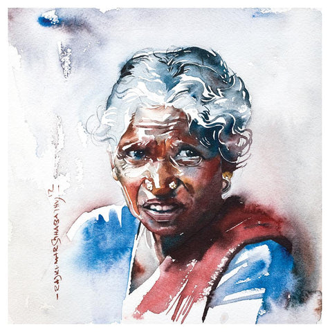 Portrait Series 55|R. Rajkumar Sthabathy- Water Color on Paper, 2012, 7 x 7 inches