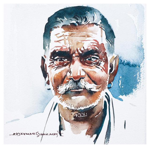 Portrait Series 56|R. Rajkumar Sthabathy- Water Color on Paper, 2012, 7 x 7 inches
