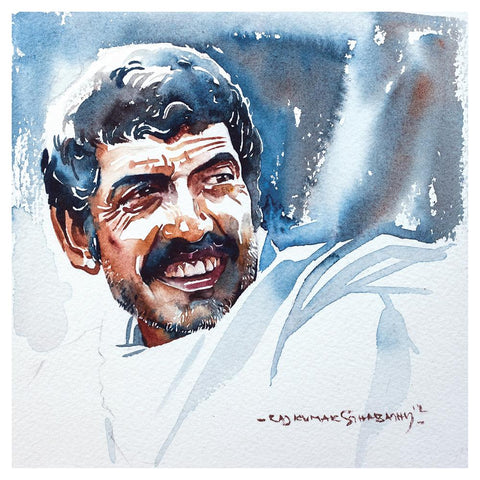 Portrait Series 57|R. Rajkumar Sthabathy- Water Color on Paper, 2012, 7 x 7 inches