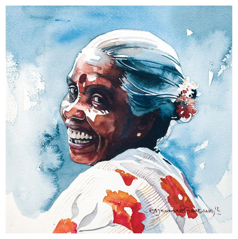 Portrait Series 58|R. Rajkumar Sthabathy- Water Color on Paper, 2012, 7 x 7 inches