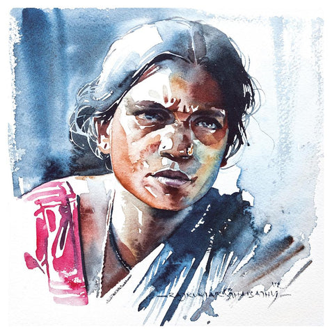 Portrait Series 59|R. Rajkumar Sthabathy- Water Color on Paper, 2012, 7 x 7 inches