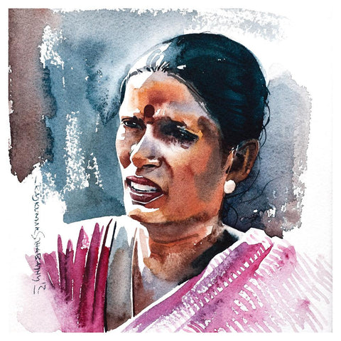Portrait Series 61|R. Rajkumar Sthabathy- Water Color on Paper, 2012, 7 x 7 inches