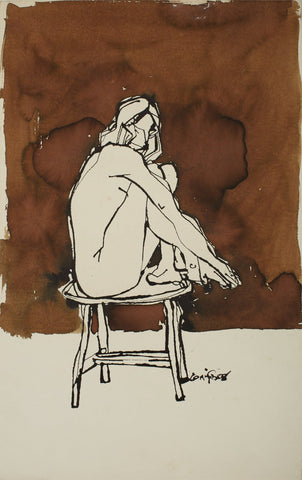 Nude 67|S. Mark Rathinaraj- Pen and Ink on Paper, , 19 x 11 inches