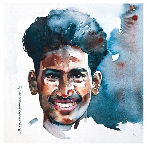 Portrait Series 63|R. Rajkumar Sthabathy- Water Color on Paper, 2012, 7 x 7 inches
