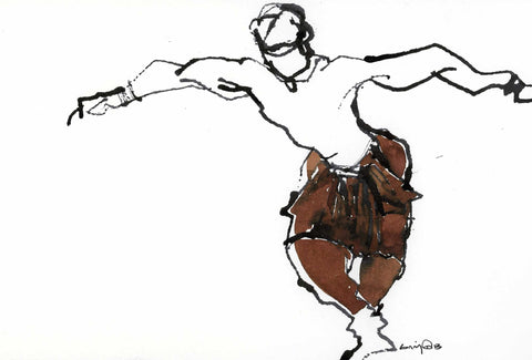 Performer 238|S. Mark Rathinaraj- Pen and Ink on Paper, , 5.5 x 8.5 inches