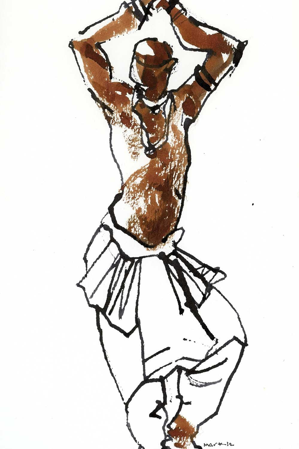 Performer 240|S. Mark Rathinaraj- Pen and Ink on Paper, , 8.5 x 5.5 inches