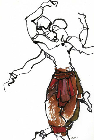 Performer 242|S. Mark Rathinaraj- Pen and Ink on Paper, , 8.5 x 5.5 inches