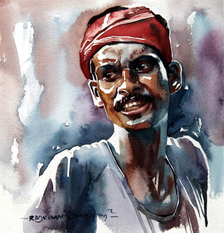 Portrait Series 72|R. Rajkumar Sthabathy- Water Color on Paper, 2012, 7 x 7 inches