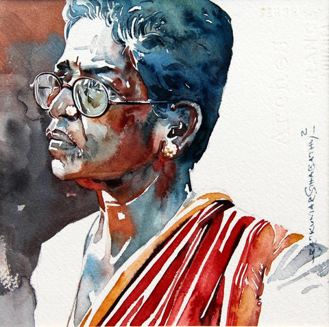 Portrait Series 74|R. Rajkumar Sthabathy- Water Color on Paper, 2012, 7 x 7 inches